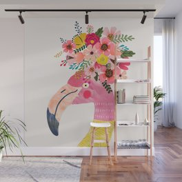 Pink flamingo with flowers on head Wall Mural