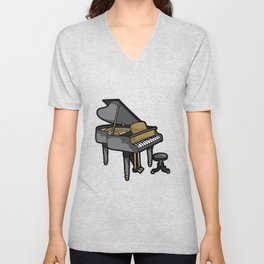 Piano Player Keyboard Organ Chamber Music Symphony Unisex V-Neck