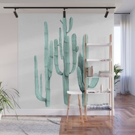 Turquoise Cactus Watercolor Painting Wall Mural