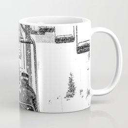Snow Lift // Ski Chair Lift Colorado Mountains Black and White Snowboarding Vibes Photography Coffee Mug