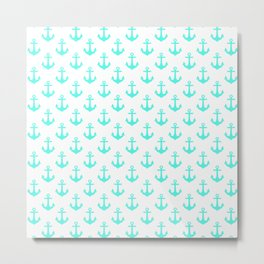 Anchors (Turquoise & White Pattern) Metal Print