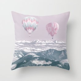 Surreal Journey In A Hot Air Ballon Throw Pillow