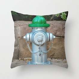 Super Centurion in Sliver and Green Fire Hydrant Fire Plub Throw Pillow