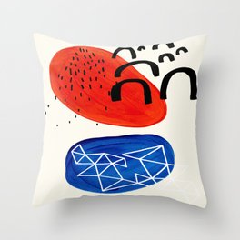 Mid Century Modern abstract Minimalist Fun Colorful Shapes Patterns Orange Blue Bubbles Organic Throw Pillow