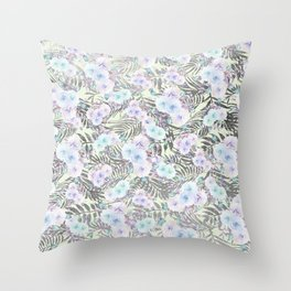Chic silver leaf ivory teal pink watercolor roses Throw Pillow
