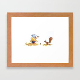 Girl and Squirrel2 Framed Art Print