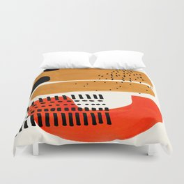 Mid Century Modern Abstract Minimalist Retro Vintage Style Fun Playful Ochre Yellow Ochre Orange  Bettbezug