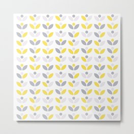 Yellow and Grey Abstract Flower Pattern #society6 #decor #buyart #artprint Metal Print