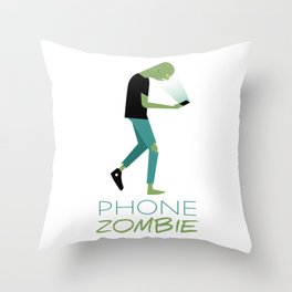 Phone Zombie Throw Pillow