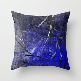 In The Dead Of Night - Textured Abstract In Blue, Black and White Throw Pillow