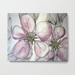 Pink Tiger Lilly Watercolour Painting Metal Print