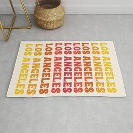 Los Angeles - retro vibes throwback minimal typography 70s colors 1970's LA Rug