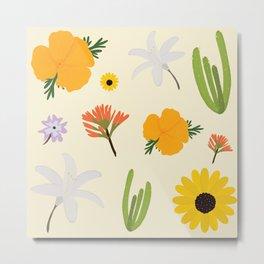 California Wildflower Pattern Metal Print