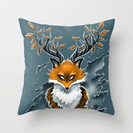 Deer Fox Throw Pillow