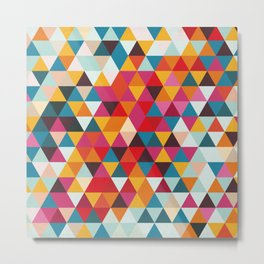 Vintage Summer Color Palette - Hipster Geometric Triangle Pattern Metal Print