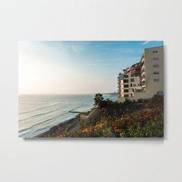 Seaside View | Landscape Photography of Lima Peru Sea Coast during Sunset Metal Print