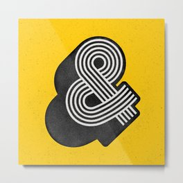 Ampersand black and white and yellow 3D typography design minimalist home decor wall decor Metal Print