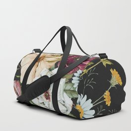 Colorful Wildflower Bouquet on Charcoal Black Duffle Bag