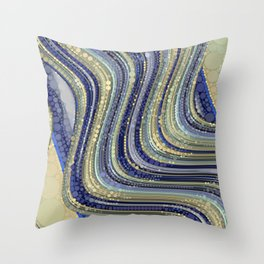 mae - wavy abstract design periwinkle navy blue soft yellow Throw Pillow