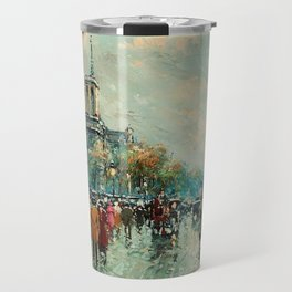Notre-Dame Cathedral, City Streets of Paris by Antoine Blanchard Travel Mug