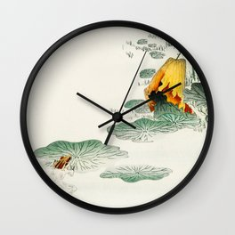 Frog in the swamp  - Vintage Japanese Woodblock Print Art Wall Clock