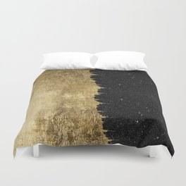 Faux Gold and Black Starry Night Brushstrokes Duvet Cover