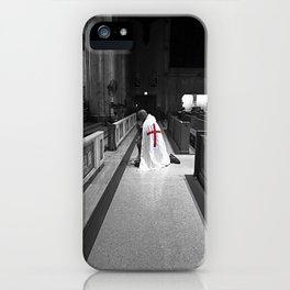 Black and White Kneeling Templar Red Cross iPhone Case