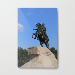 "Bronze monument of Peter the Great. ""Bronze Horseman"" Metal Print"