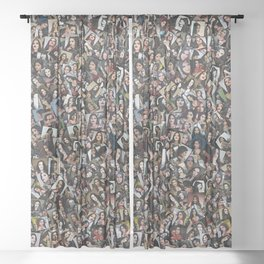 CBQ Gothic girl collage Sheer Curtain