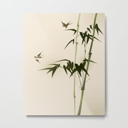 Oriental style bamboo branches 001 Metal Print