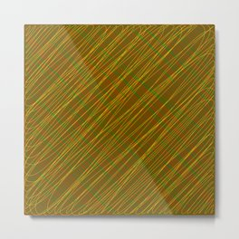 Wicker ornament of their bronze threads and yellow intersecting fibers. Metal Print