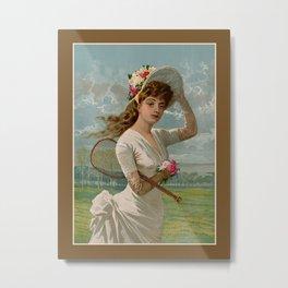 Vintage Victorian tennis girl Metal Print