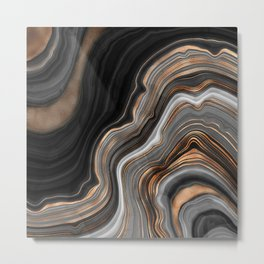 Elegant black marble with gold and copper veins Metal Print