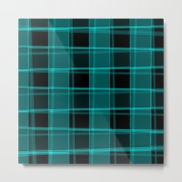 Strict strokes of light and light blue cells with bright stripes. Metal Print