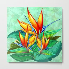 Bird of Paradise Flower Exotic Nature Metal Print