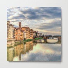 Arno River and Ponte Vecchio, Florence Metal Print