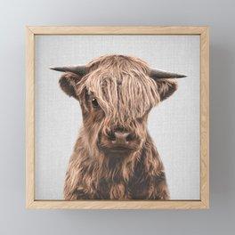 Highland Calf - Colorful Framed Mini Art Print