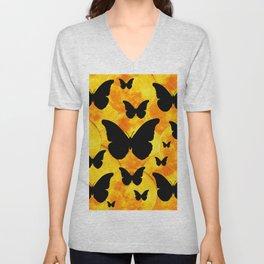 Harvest Gold Moons Black Butterfly Art Unisex V-Neck