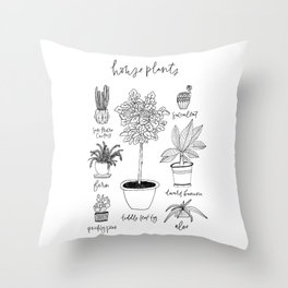 House Plants Print Throw Pillow
