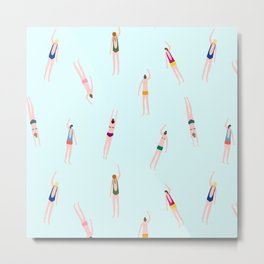Swimmers in the pool Metal Print