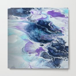 Navy Blue, Teal and Royal Purple Marble Metal Print