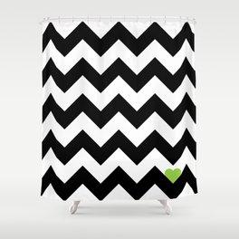 Heart & Chevron - Black/Green Shower Curtain