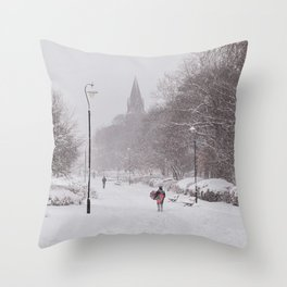 Snow days in the park Throw Pillow