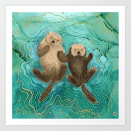 Otters Holding Paws, Floating in Emerald Waters Art Print