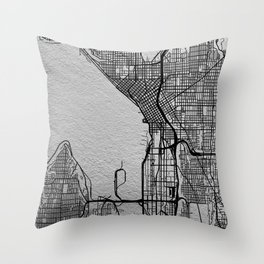 Silver Seattle map Throw Pillow