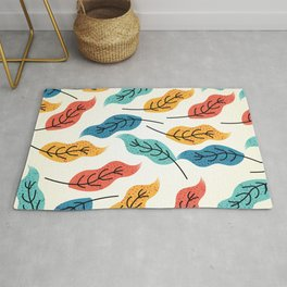 Colorful Autumn Leaves Illustration Rug