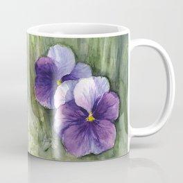 Purple Pansies Watercolor Flowers Painting Violet Floral Art Coffee Mug