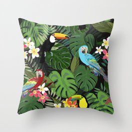 Tropical forest and birds pattern black background Throw Pillow