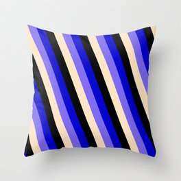 Blue, Medium Slate Blue, Bisque & Black Colored Stripes Pattern Throw Pillow
