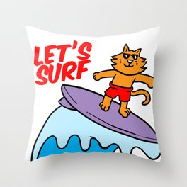 Surfer Cat Surfing Wave-rider Water Sport Sea GIft Throw Pillow